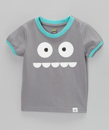 Doodle Pants Gray & Blue Silly Monster Tee
