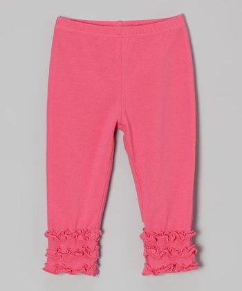 tiptoe & whisper Hot Pink Ruffle Leggings - Infant
