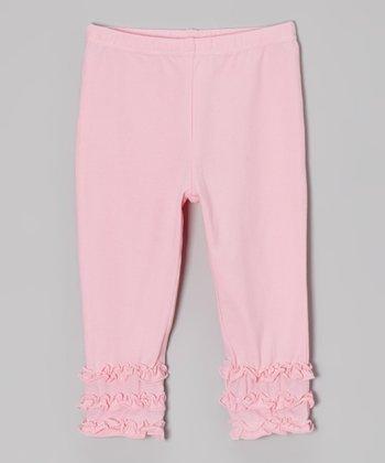 tiptoe & whisper Bubblegum Pink Ruffle Leggings - Infant