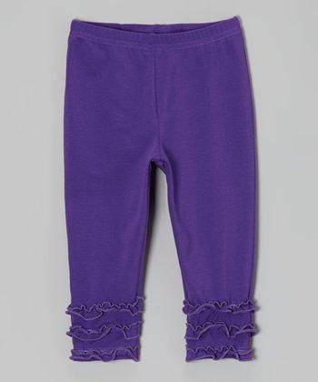 tiptoe & whisper Purple Ruffle Leggings - Infant