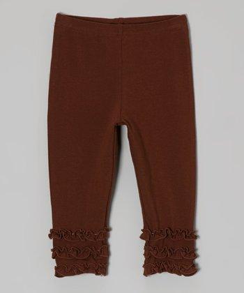 tiptoe & whisper Chocolate Ruffle Leggings - Infant