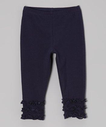 tiptoe & whisper Navy Ruffle Leggings - Infant