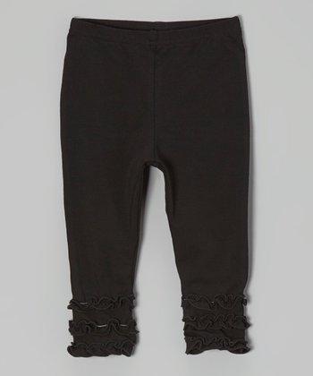 tiptoe & whisper Black Ruffle Leggings - Infant