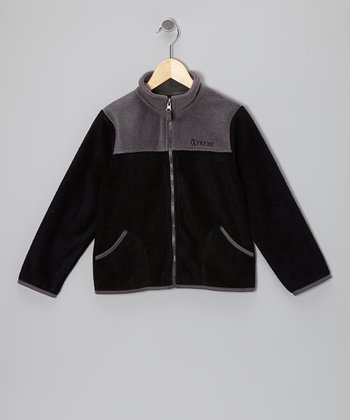 Black & Gray Denali Plush Jacket - Boys