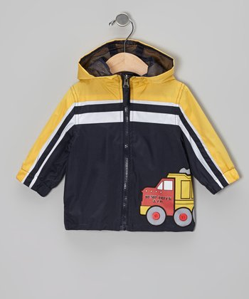 Navy Dump Truck Raincoat - Infant