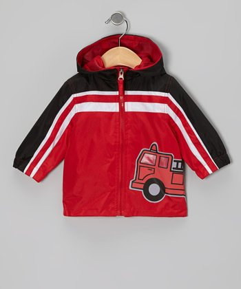 Red Fire Truck Raincoat - Infant