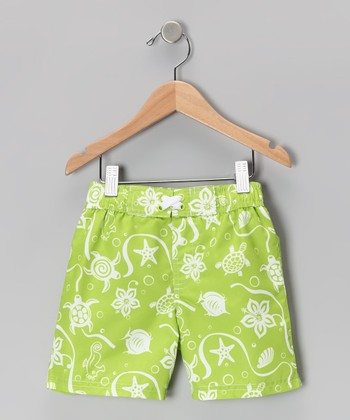 Lime Sea Life Swim Trunks - Toddler