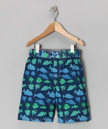 Navy Fish Swim Trunks - Toddler