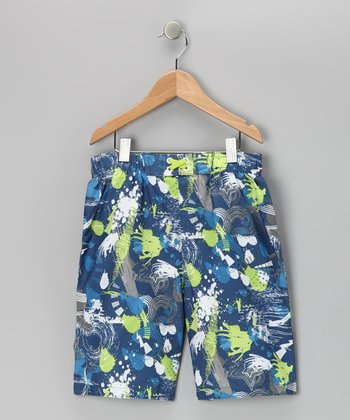 Navy Stars Boardshorts - Boys