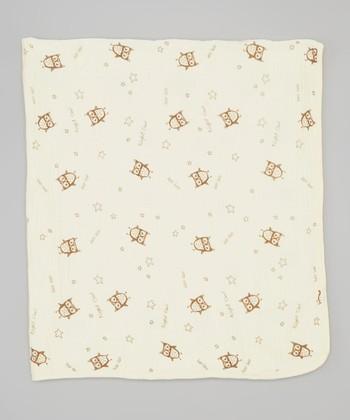 White Night Owl Double-Layer Organic Swaddling Blanket