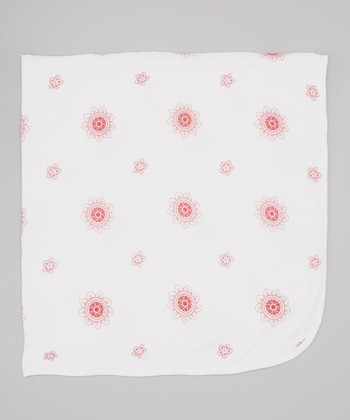 Red Lotus Flower Double-Layer Organic Swaddling Blanket