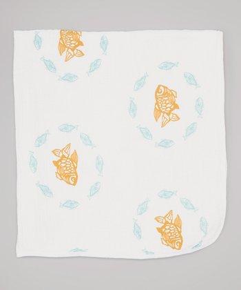 Teal Goldfish Double-Layer Organic Swaddling Blanket