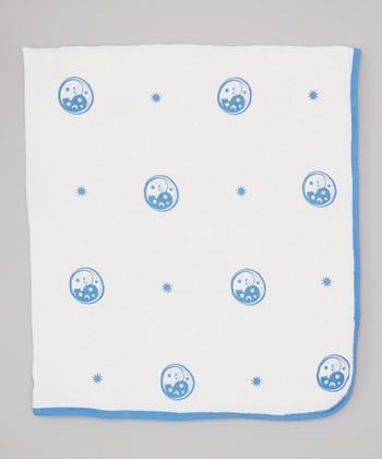 White & Blue Moon Double-Layer Organic Swaddling Blanket