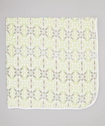 Green Geometric Double-Layer Organic Swaddling Blanket