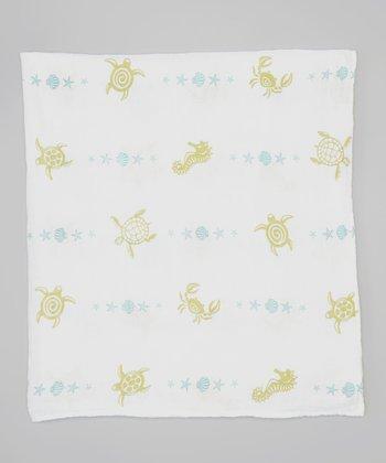 White Sea Creatures Organic Muslin Swaddling Blanket