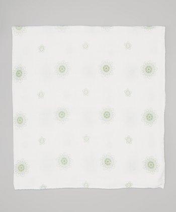 White & Sage Flowers Organic Muslin Swaddling Blanket