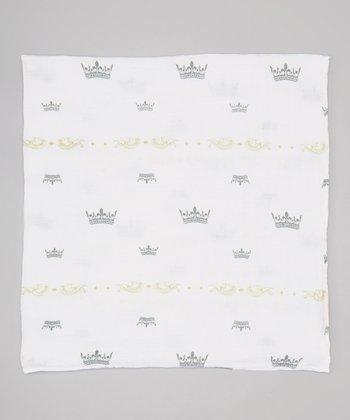 White & Green Crown Organic Muslin Swaddling Blanket