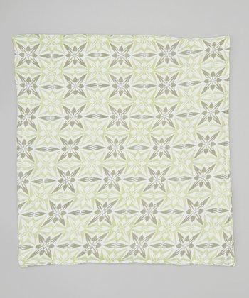 Green Geometric Organic Muslin Swaddling Blanket