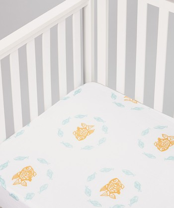 White Goldfish Organic Crib Sheet