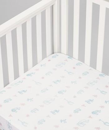 White Jungle Animals Organic Crib Sheet