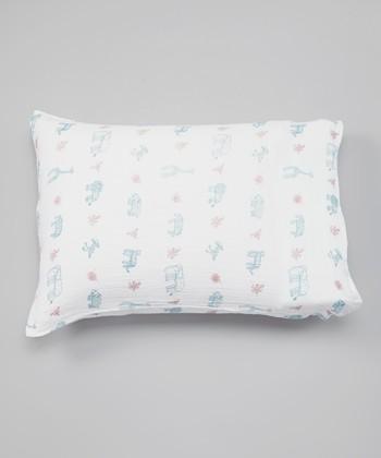 White Jungle Animals Organic Pillowcase