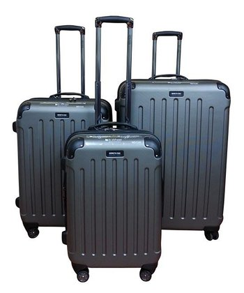 Silver Wheeled Three-Piece Travel Case Set