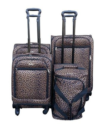 Leopard Four-Piece Wheeled Luggage Set