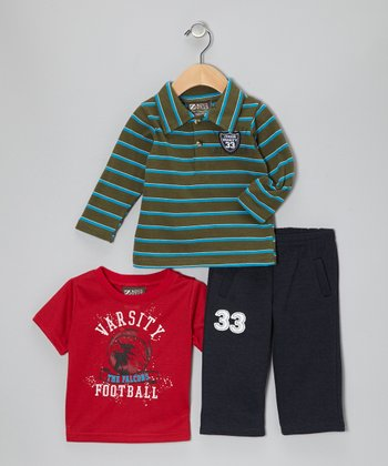 Green Stripe Polo Set - Infant