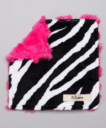 Black & Raspberry Zebra Velour Crinkleez Lovey