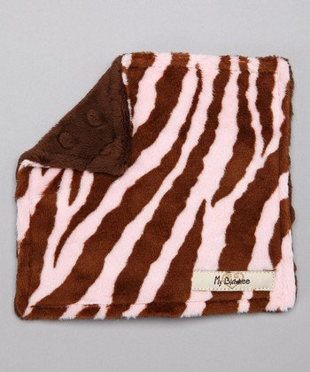 Brown & Pink Zebra Velour Crinkleez Lovey