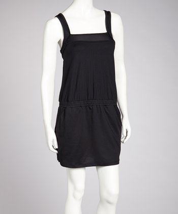 Black Gathered Waist Dress