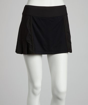 Black Pleated Mesh Skort