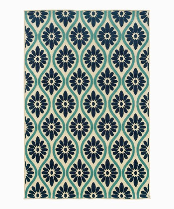 Turquoise & Blue Flower Indoor/Outdoor Rug