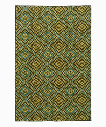 Green & Blue Diamond Indoor/Outdoor Rug