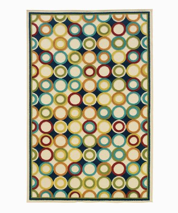 Beige & Navy Dot Indoor/Outdoor Rug