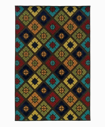 Green & Red Diamond Indoor/Outdoor Rug