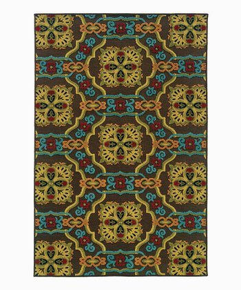 Blue & Orange Chain Indoor/Outdoor Rug