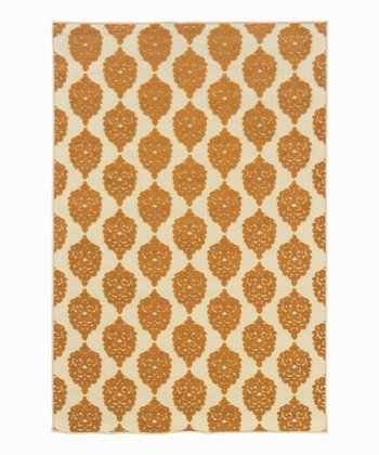 Brown Pine Pattern Indoor/Outdoor Rug