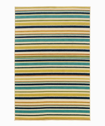 Tan & Turquoise Stripe Indoor/Outdoor Rug