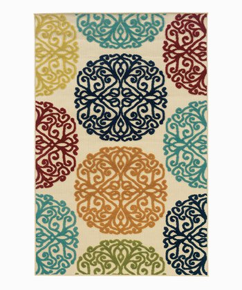 Blue & Brown Ornate Indoor/Outdoor Rug