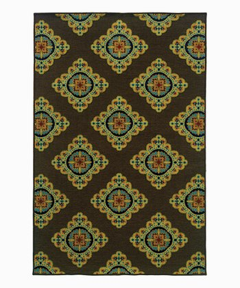 Brown Ornate Diamond Indoor/Outdoor Rug