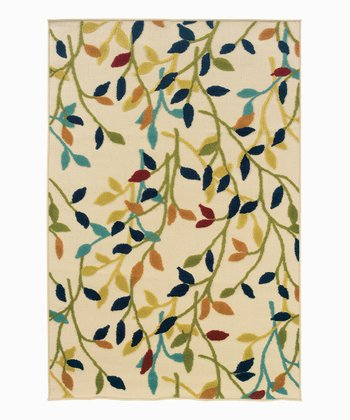 Tan & Navy Ivy Indoor/Outdoor Rug
