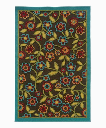 Brown & Turquoise Floral Ivy Indoor/Outdoor Rug