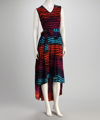 Fuchsia & Orange Tiger Tie-Waist Hi-Low Dress