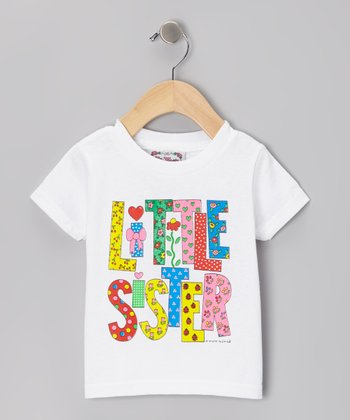 White 'Little Sister' Letter Tee- Infant, Toddler & Girls