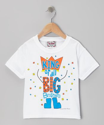 White 'King of All Big Brothers' Tee - Boys