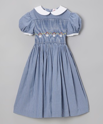 Blue Stripe Sand Pail Smocked Dress - Infant, Toddler & Girls