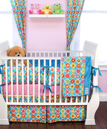 Turquoise Big Daisy Crib Bedding Set
