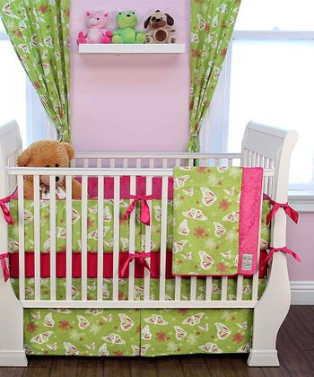 Lime Green Butterfly Crib Bedding Set