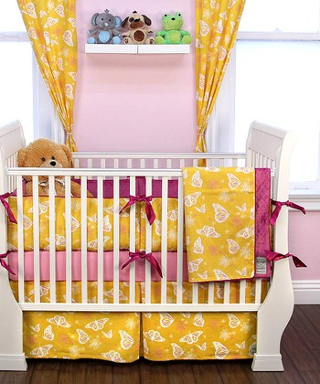 Yellow Butterfly Crib Bedding Set